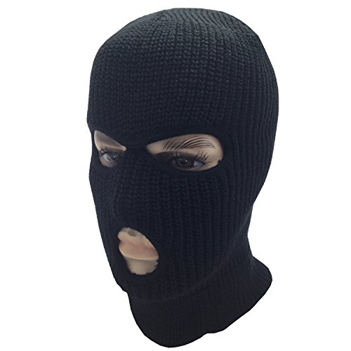 grinderPUNCH Mens Black Knit Thermal Face Ski Mask Three Hole]()