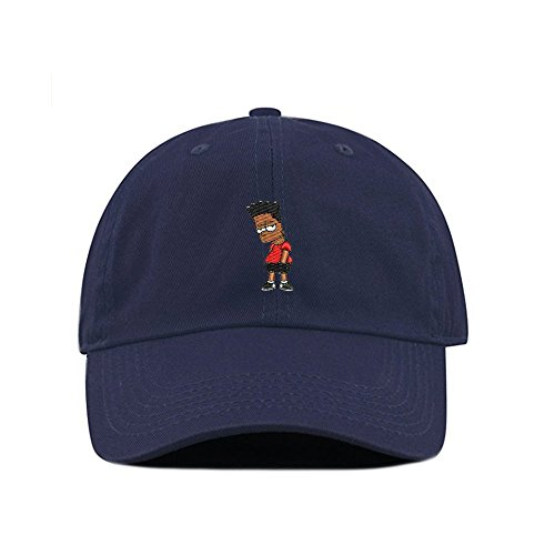 Black Hair Bart Dad Hat Cotton Baseball Cap Polo Style Low Profile 5 Colors (Navy)