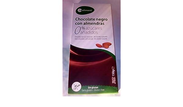 Chocolate negro con almendras 150 gr. / Sin azúcares añadidos/Sin Gluten: Amazon.es: Alimentación y bebidas