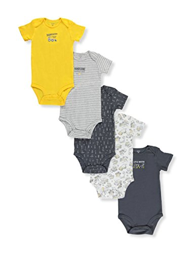 Carter's Baby Boys' Striped Little Mister Fix It Bodysuit Set of 5, Preemie