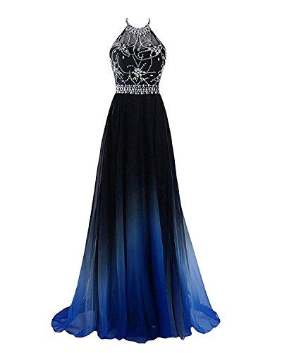 Hear Women's Halter Gradient Chiffon Long Prom Dress Ombre Beads Evening Dresses Hear040 Royal 4