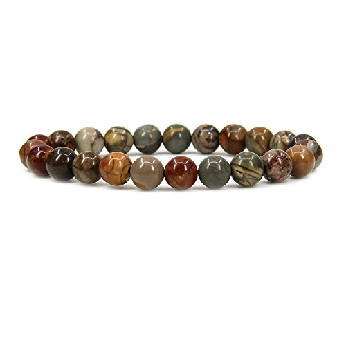 Picasso Bead Bracelet - Amandastone Natural Multi-Color Picasso Jasper Gemstone 8mm Round Beads Stretch Bracelet 7