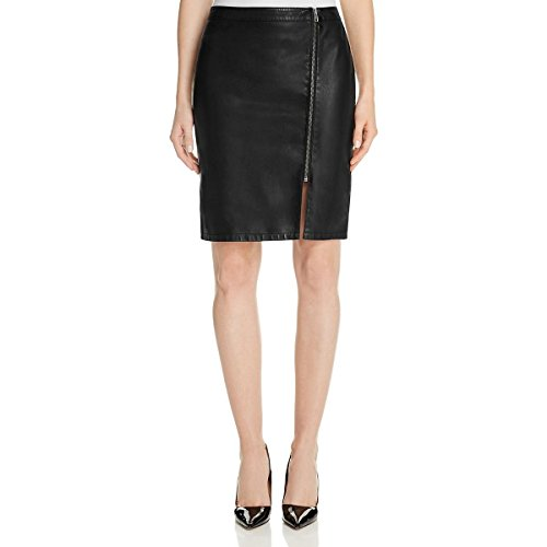 cupcakes and cashmere Womens Emmett Faux Leather Front Zip Pencil Skirt Black 2