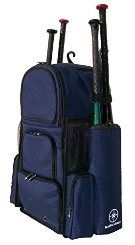 New Design Large Vista L in Navy Blue Adult Softball Baseball Bat Equipment Backpack with Innovative Removable Bat Sleeves and Embroidery Patch by MAXOPS