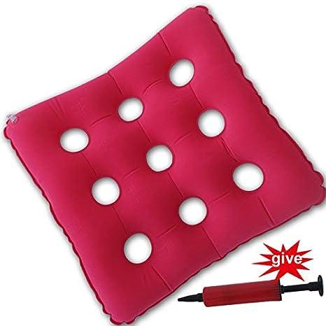 OLI 45 * 41cm Cojín de Silla de Oficina antiescaras Cuadrado Cojín de hemorroides Cojín de Aire InflableRosa roja