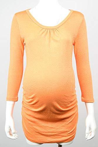 Michael Stars Maternity Inca Orange OSFA Shine Ruched Shirred Tshirt top