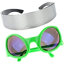 Prettyia Set of 2pcs Funny Green One-piece Metallic Silver Futuristic Soldier Space Robot Halloween Dressing up Party Glasses Props