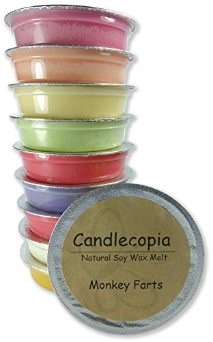 Bath Papaya Nectar - Candlecopia Monkey Farts, Butt Naked, Bite Me, Mango Papaya and More! Strongly Scented Hand Poured Premium Natural Soy Wax Melt Cups, 12.5 Ounces in 10 x 1.25 Ounce Sealed Cups