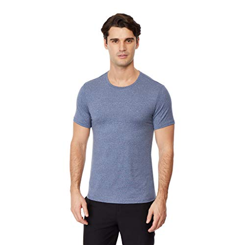 (32 DEGREES Mens Cool Solid Crew Neck Tee Shirt, Deep Pacific Heather, Size)