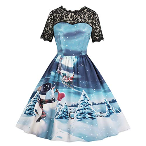 8a89331f3bff Christmas Swing Dress Women Lace Stitching Hollow Printing Vintage Gown  Evening Party Dress ANJUNIE(Blue3,XL)