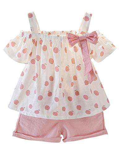 Toddler Baby Girl Outfits 2Pcs Ruffle Print T-Shirt Tops and Shorts Pants Clothes Sets 1T -