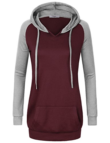 Lightweight Hoodie Women,Cestyle Casual Attire Girls Vintage Long Ralan Sleeve V Neck Banded Bottom Splice Shirt Blouse Tops Business Casual Soft Pullover Sweatshirts Sweater Hoody Wine XX-Large
