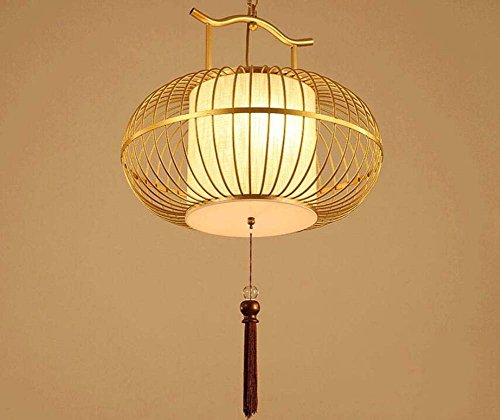 Onfly Iron Bird Cage Chandelier,Chinese Style Hollow Lantern Pendant Lamp,fabric Lamp Shade+tassel Fringe Hanging Lamp,Deco Hanging Lamp(without Bulb) (Color : Gold, Size : 40CM)