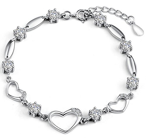 (Sterling Silver Bracelet Women Heart Hand Chain Authentic Crystal Link Bracelets Teens Girls Gifts)