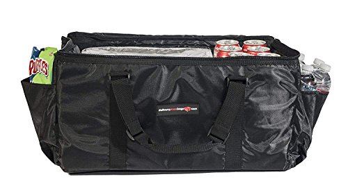 Insulated Food Delivery Bag - Commercial Quality Thermal Food Transport Bag - 22'' x 14'' x 11'' - Extra Strong Zipper With Thick Insulation Carrier - Large Black by DeliveryPizzaBags