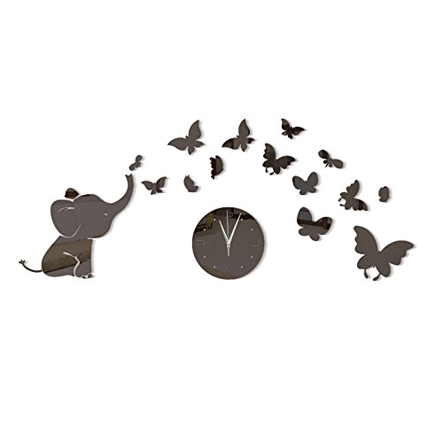 Humasol Elephant 3D Mirror Frameless DIY Wall Sticker Watch Decoration Wall Clock Ale Clock