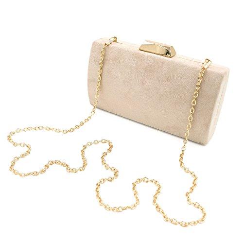 Elegant Solid Color Suede Felt Hard Clutch Evening Bag Handbag, Beige