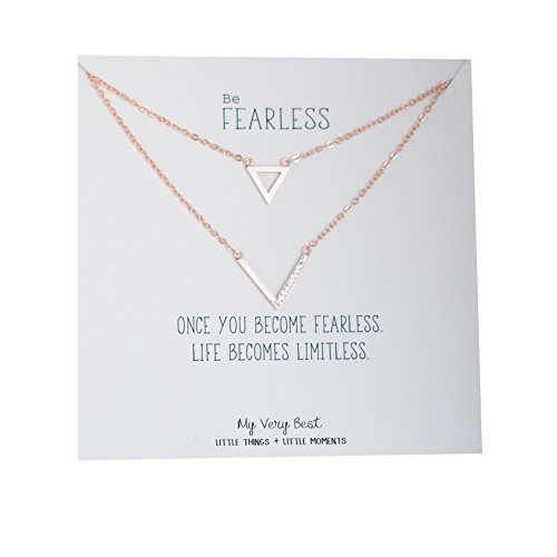 Chain Triangle Necklace - My Very Best Half CZ Chevron and Triangle Double Chain Necklace (rose gold plated brass)