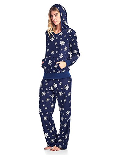 Ashford & Brooks Women's Mink Fleece Hoodie Pajama Set - Navy Snow Flake - 2X-Large