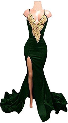 Grün Party Seitliche Abendkleid Lange Lovelybride Kleider Meerjungfrau Sexy Teilung Applikationen OqTTw4zf
