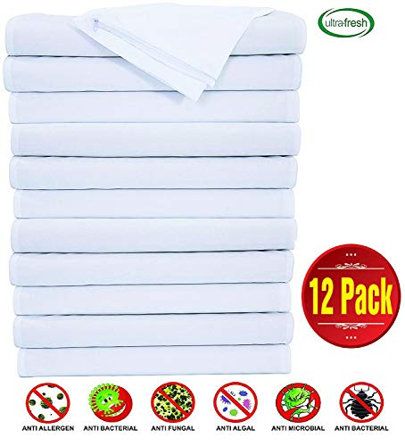 Pillow Protectors Anti Allergy 12 Pack Standard Dozen Lab Certified Dust Mite Ultra Fresh Treated 20x26inches 100% Cotton Non Crinkle Quiet Breathable Zipper Covers Cases Anti Microbial
