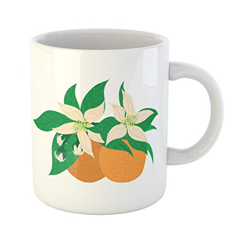 Semtomn Funny Coffee Mug Green Mandarins Clementines Citrus Two Whole and Flower Blossom Orange 11 Oz Ceramic Coffee Mugs Tea Cup Best Gift Or Souvenir -