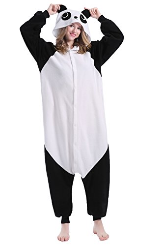 Sweetdress Unisex Panda Pyjamas Halloween Onesie Cosplay Costume Pajamas (Large, Panda) ()