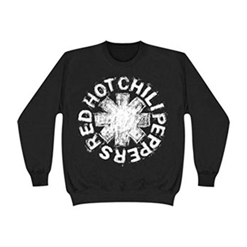 Mens Crew Red Logo Sweatshirt (Red Hot Chili Peppers Asterisk Logo Sketch Crewneck Sweatshirt - Black)