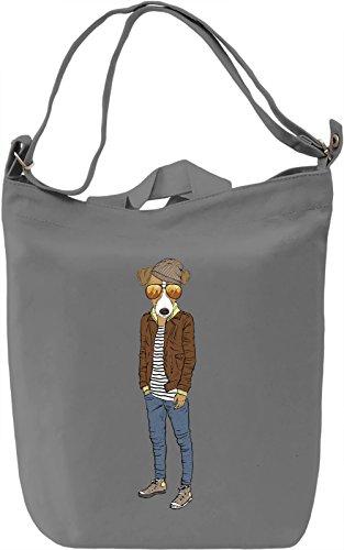 Hipster dog Borsa Giornaliera Canvas Canvas Day Bag| 100% Premium Cotton Canvas| DTG Printing|