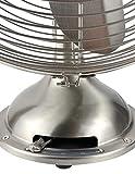 "HUNTER Retro Table Fan, 12"", Brushed Nickel"