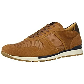 MARC JOSEPH NEW YORK Men's Leather Made in Brazil Luxury Fashion Trainer Sneaker, Cognac Suede, 7 M US