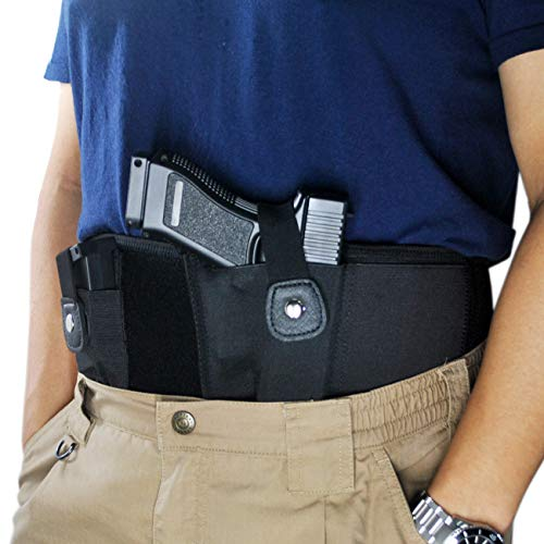TRIROCK Tactical Concealed Carry Belly Band Holster w/Magazine Pouch for Pistols/Revolvers - for Women and Men - Outside/Inside The Waistband Carry (OWB/IWB) - Right Handed (Concealed Carry Holster For Hi Point 45)