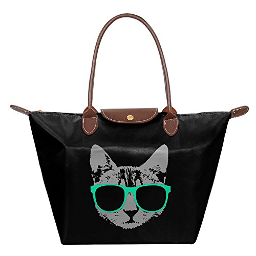 Music Box Dancer Costume - Music Cat With Glasses Folding Dumpling Handbag Nylon WaterProof Gripesack School Backpack Black Customize Novelty