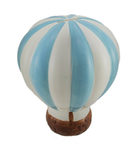 Zeckos Baby Blue and White Hot Air Balloon Ceramic Coin Bank