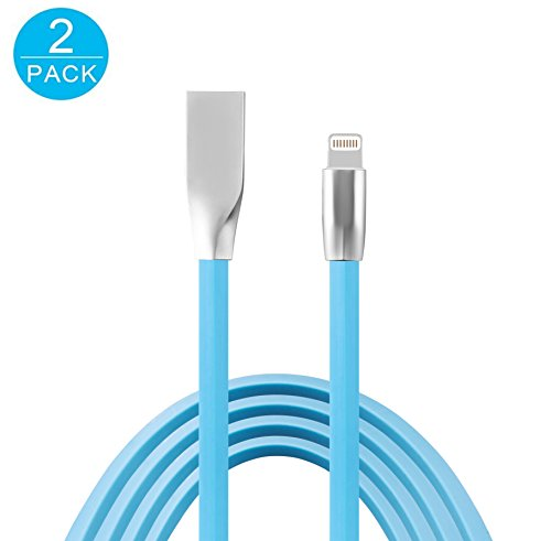 Flat Noodle (Ancrown 2-Pack Flat Noodle Cord Zinc Alloy 8 Pin Lightning Fast Charger Cord(3.3ft/1m), Data & Sync Transfer Charging Cable for iPhone 8/8 Plus/ 7/7 Plus/6s/6s Plus/6/6Plus/5s/5c/5, iPad/iPod, Blue)