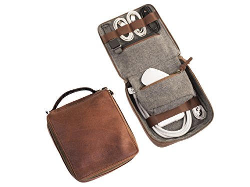 Dwellbee Travel Electronic Accessories and Cable Organizer, Small (Buffalo Leather, Brown)