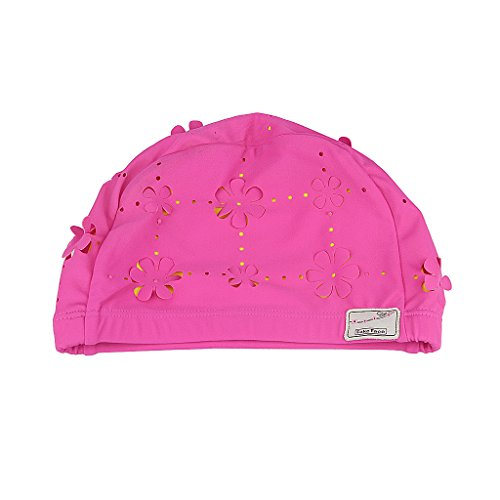 Vintage Lycra Swim Cap Floral Petal Retro Bathing Caps for Women Girl Long Hair (Embossed Spandex Hat)
