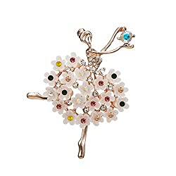 Ballet Dancing Girl Shinning Crystal Glass Brooches