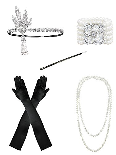 1920s Flapper Accessories Leaf Headband Pearl Necklace Black Gloves Bracelet