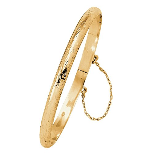 18k Gold over .925 Sterling Silver Etched Hinged Bangle Bracelet