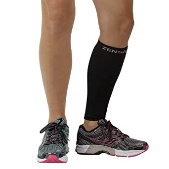 Zensah Calf/Shin Splint Compression Sleeve (singe sleeve), Black, X-Small/Small