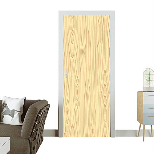 Homesonne Decorative Door Decal Texture Pattern Gra Wood Natural Growth L Nature Organic Themed Ima Stick The Picture on The doorW23 x H70 -