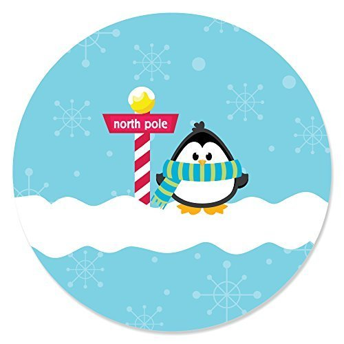 Big Dot of Happiness Holly Jolly Penguin - Holiday & Christmas Circle Sticker Labels - 24 ()