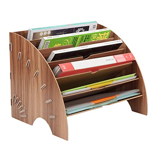 PENGKE File Sorter Organizer 6 Slots, Fan-Shaped Mail Letter Document Magazine File Folder Holder, Office Desktop Organizer (Brown)
