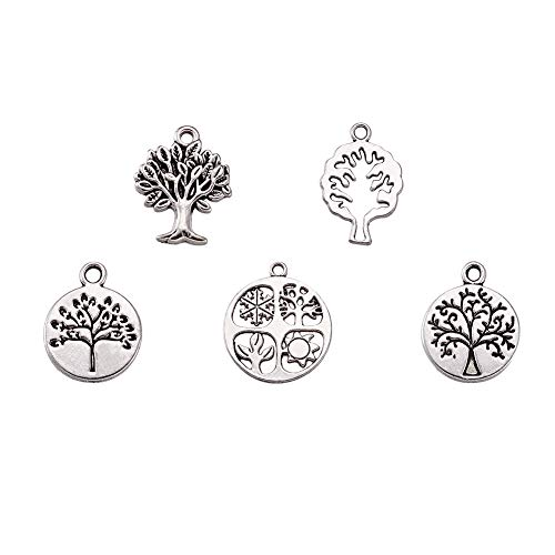 (Pandahall 5Sets/30pcs Antique Silver Mixed Tibetan Style Alloy Pendants Tree of Life Necklace Charms Jewelry Makings Craft Bracelet Supplies)