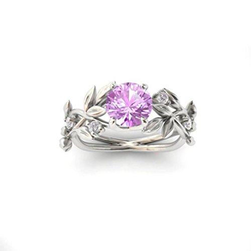 - Clearance ! Ladies Floral Ring,Vanvler Vine Leaf Diamond Ring Wedding Gift Women Jewelry (8, Pink)