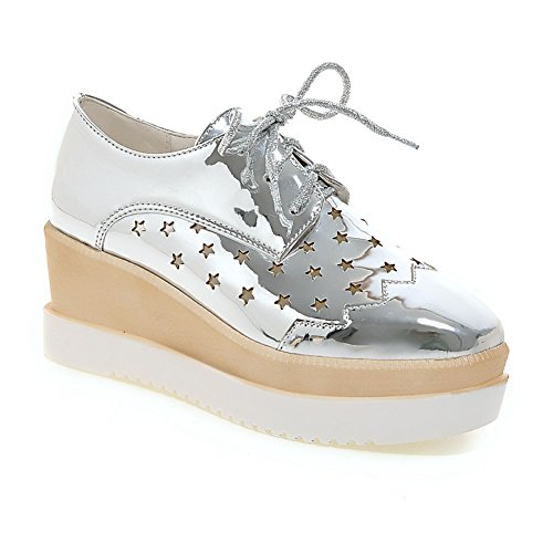 Up Platform Shoes Lace Sliver Lucksender Oxford Hollow Womens Out z6xPEq