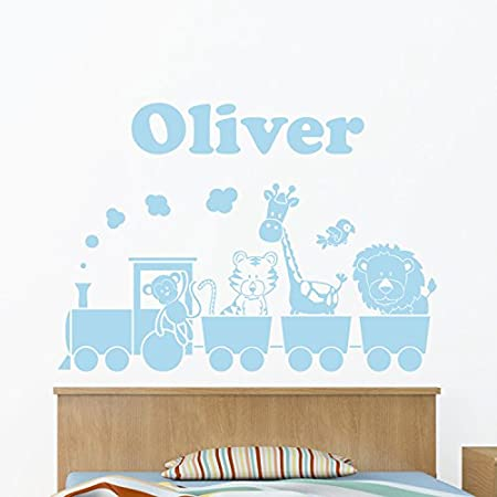 Personalised jungle animal train with childs name wall sticker monkey tiger giraffe