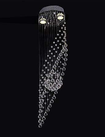 50 2Light luz K9 de cristal transparente Lámpara de araña