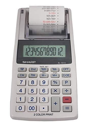 Sharp EL-1611V Handheld Portable Cordless 12 Digit Large LCD Display Two-Color Printing Calculator with Tax Functions ()